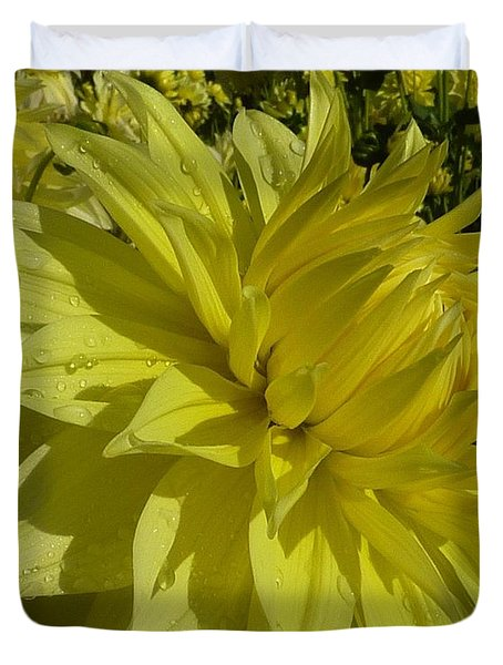 Duvet Cover featuring the photograph Lemon Yellow Dahlia  by Susan Garren
