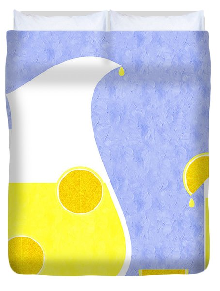 Lemonade And Glass Blue Duvet Cover by Andee Design