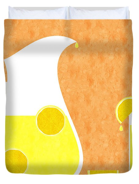 Lemonade And Glass Orange Duvet Cover by Andee Design
