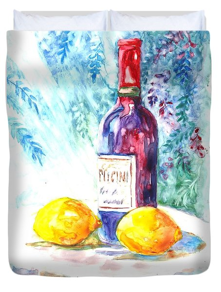 Lemons And Wine And A Little Sunshine Duvet Cover by Carol Wisniewski