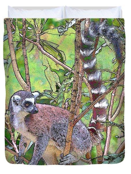 Lemur Sketch Duvet Cover by Dan Dooley