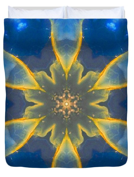 Lemurian Aquatine Calcite Mandala Duvet Cover