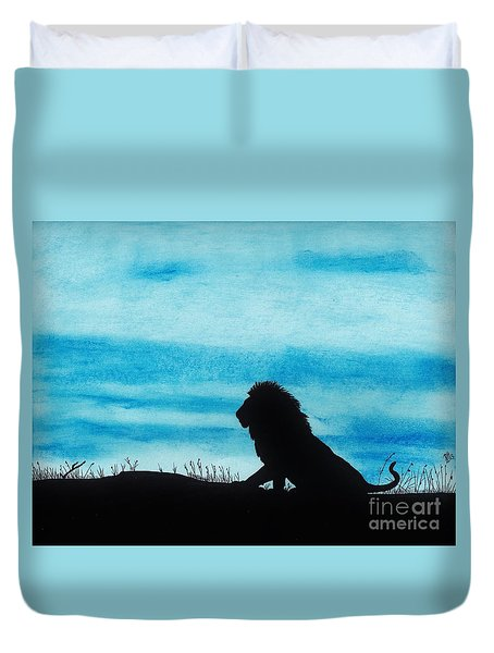 Leo At Sunset Duvet Cover by D Hackett