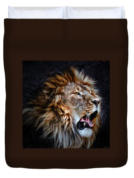 Duvet Cover featuring the photograph LEO by Elaine Malott