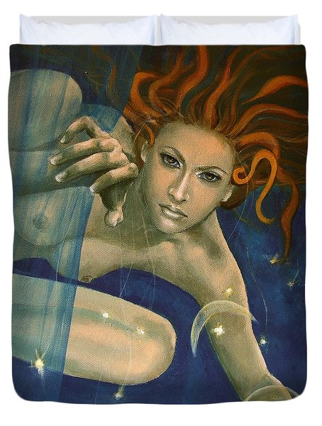 Leo From Zodiac Series Duvet Cover by Dorina  Costras