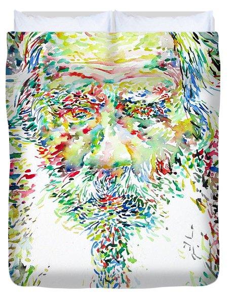 Leo Tolstoy Watercolor Portrait.1 Duvet Cover by Fabrizio Cassetta