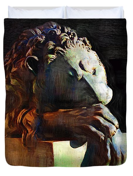 Leo Weeps Duvet Cover by RC DeWinter