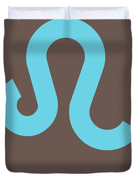 Leo Zodiac Sign Blue Duvet Cover