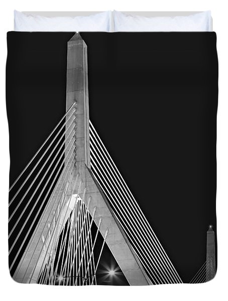 Duvet Cover featuring the photograph Leonard P. Zakim Bunker Hill Memorial Bridge Bw II by Susan Candelario