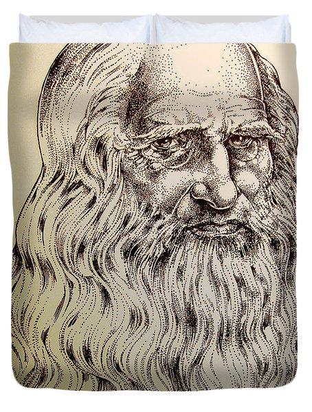 Leonardo Da Vinci Duvet Cover by Derrick Higgins