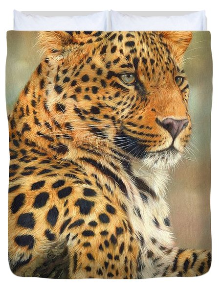 Leopard Duvet Cover by David Stribbling