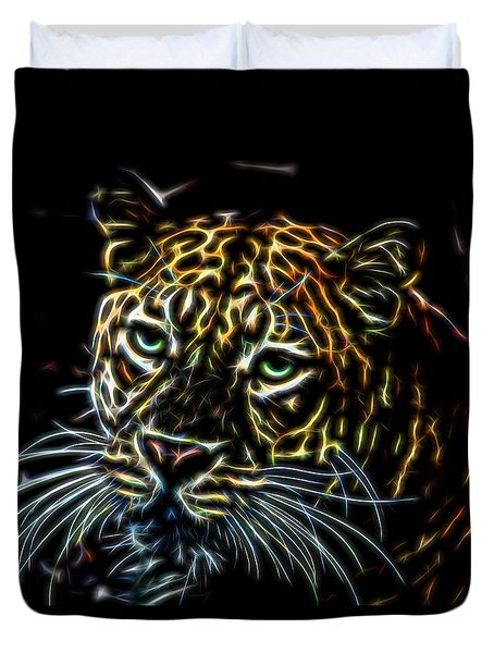 Leopard Glow Duvet Cover by Judy Vincent