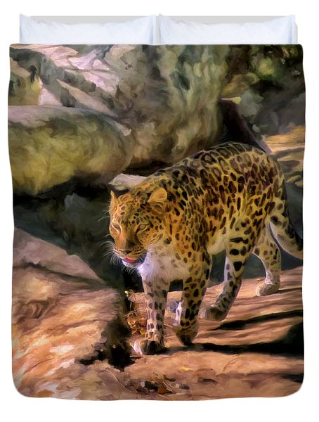 Duvet Cover featuring the painting Leopard by Michael Pickett