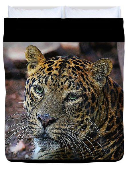 Leopard Painted Duvet Cover by Judy Vincent