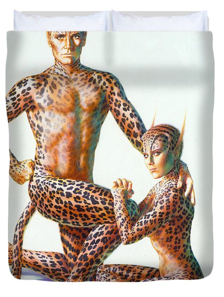 Leopard People Duvet Cover by Andrew Farley