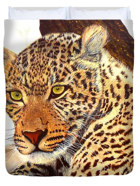 Leopard Point Of View Duvet Cover