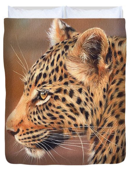 Leopard Portrait Duvet Cover by David Stribbling