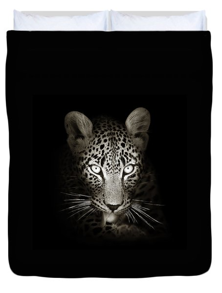 Leopard Portrait In The Dark Duvet Cover