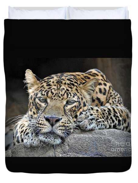 Duvet Cover featuring the photograph Leopard by Savannah Gibbs