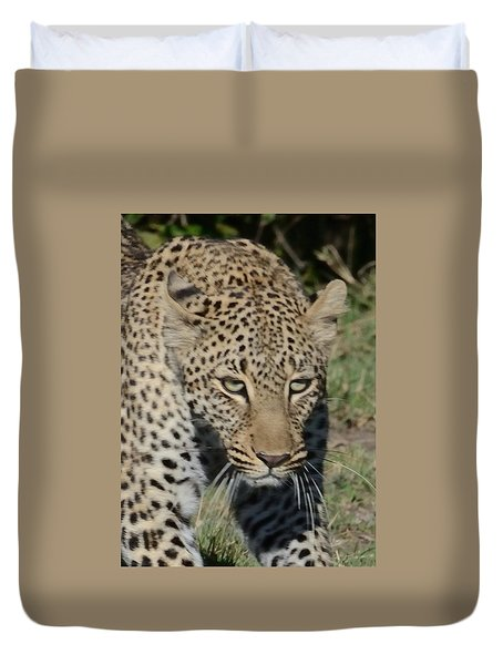 Duvet Cover featuring the photograph Leopard Stalking by Tom Wurl