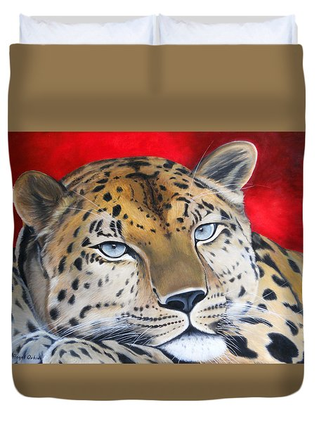Leopardo Duvet Cover by Angel Ortiz