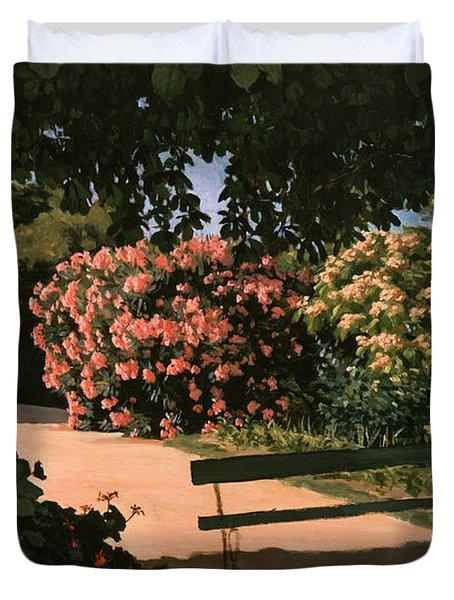 Les Lauriers Roses, 1867 Oil On Canvas Duvet Cover