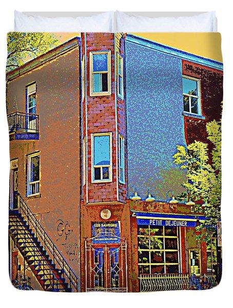 Les Saveurs Cafe Resto Grillades Tapas Petit Dejeuner Montreal French Cafe City Scene Carole Spandau Duvet Cover by Carole Spandau