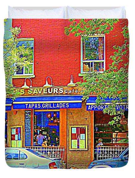 Les Saveurs Tapas Grillades Apportez Votre Vin Montreal Cafe Art Scene By Carole Spandau Duvet Cover by Carole Spandau