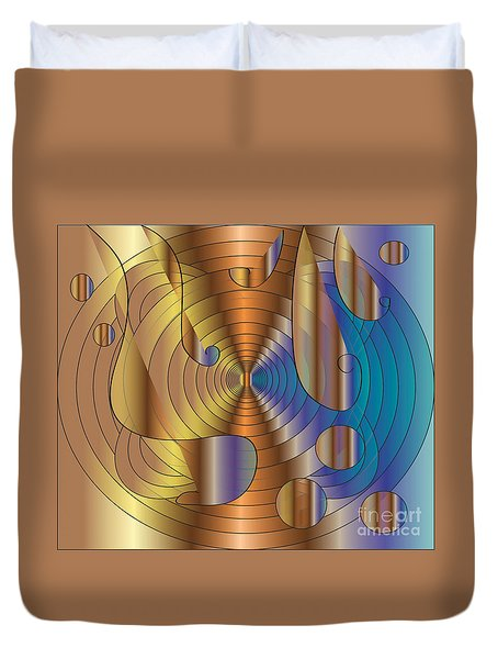 Duvet Cover featuring the digital art Let There Be Music  2 by Iris Gelbart