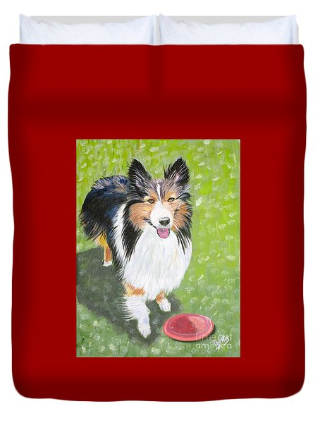 Let Us Play  Border Collie Duvet Cover by Phyllis Kaltenbach