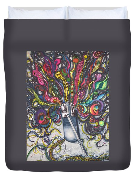 Duvet Cover featuring the painting Let Your Music Flow In Harmony by Chrisann Ellis