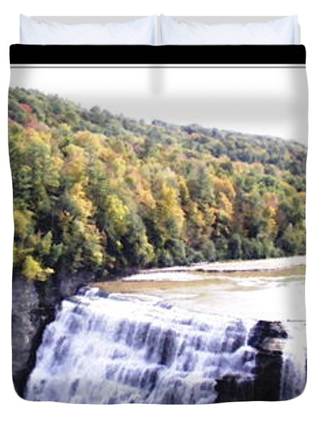 Letchworth State Park Middle Falls Panorama Duvet Cover