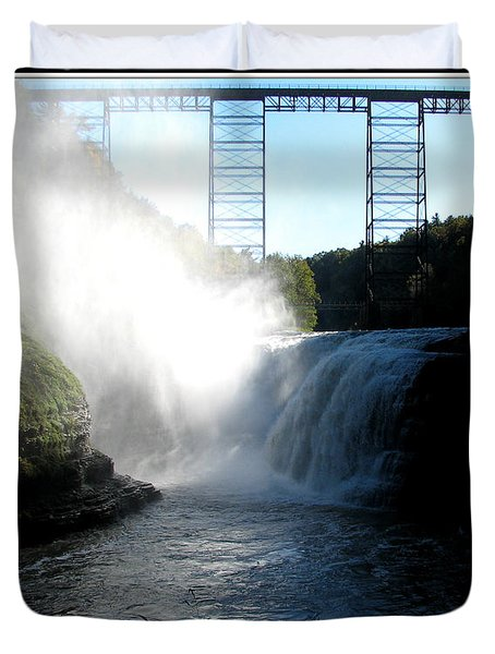Letchworth State Park Upper Falls And Railroad Trestle Duvet Cover