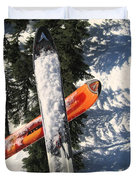 Lets Toast Our Skis Together Duvet Cover by Kym Backland