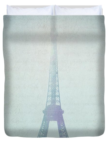 Letters From Paris Duvet Cover by Lisa Parrish