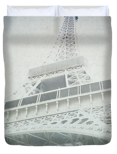 Letters From The Eiffel - Paris Duvet Cover by Lisa Parrish