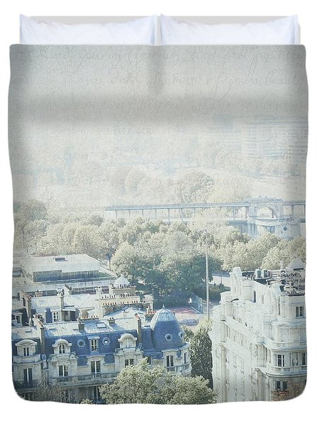 Letters From The Seine - Paris Duvet Cover by Lisa Parrish