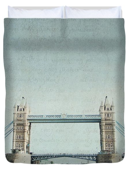 Letters From Tower Bridge - London Duvet Cover by Lisa Parrish