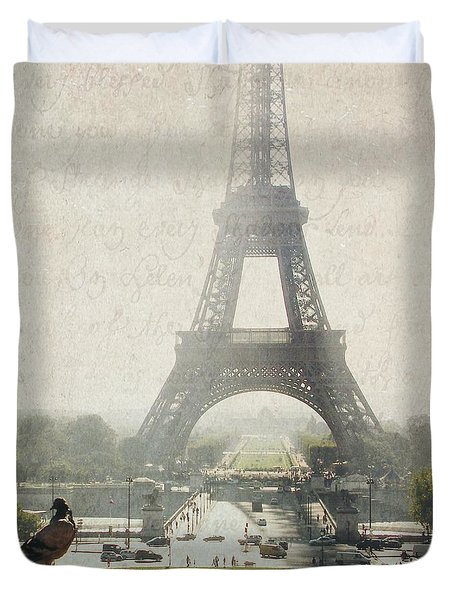 Letters From Trocadero - Paris Duvet Cover by Lisa Parrish