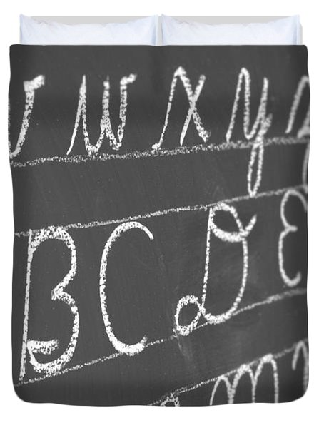 Letters On A Chalkboard Duvet Cover by Chevy Fleet