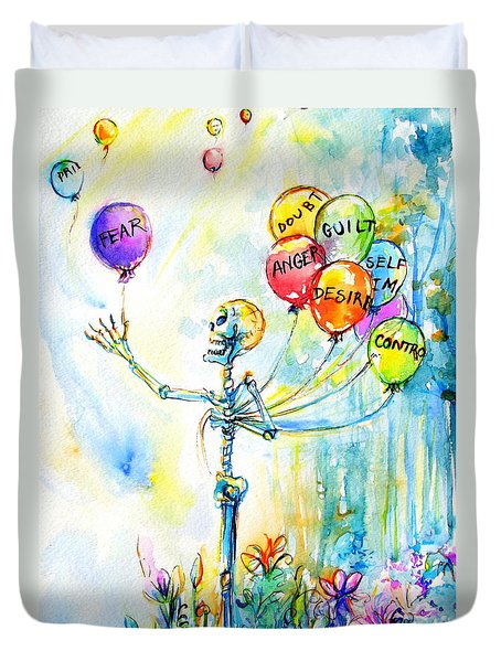 Duvet Cover featuring the painting Letting Go by Heather Calderon