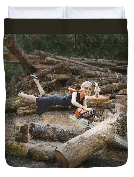 Levitating Housewife - Cutting Firewood Duvet Cover