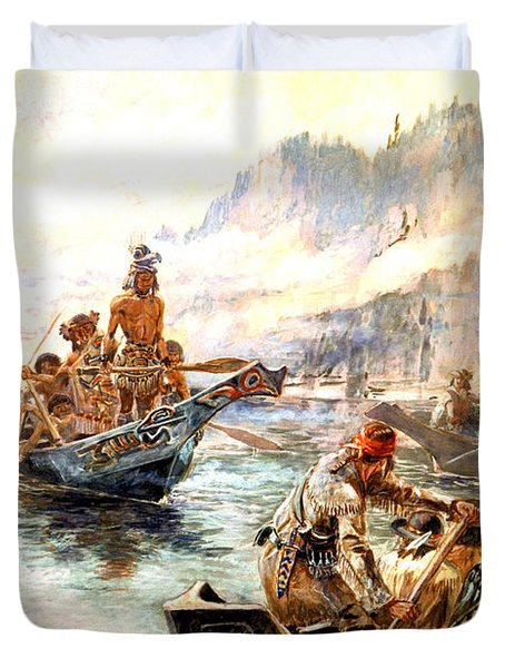 Lewis And Clark On The Lower Columbia  Duvet Cover