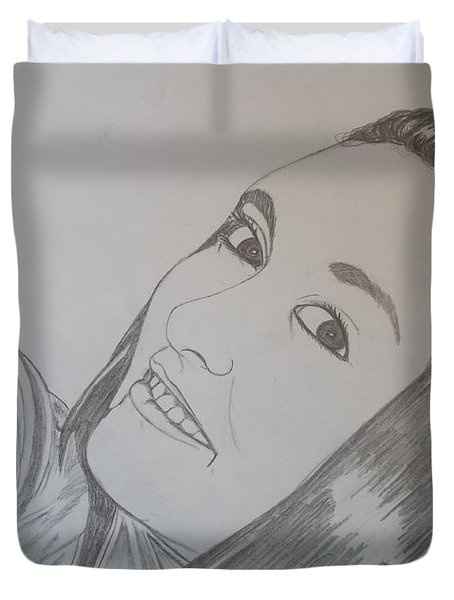 Duvet Cover featuring the drawing Lexi by Justin Moore