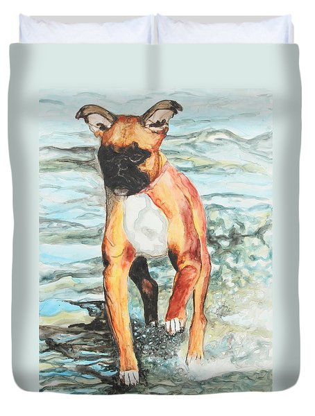 Duvet Cover featuring the painting Leyla by Jeanne Fischer