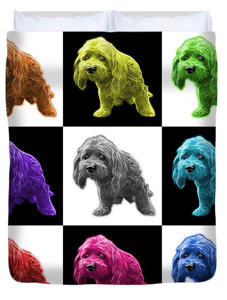 Lhasa Apso Pop Art - 5331 - V2- M Duvet Cover by James Ahn
