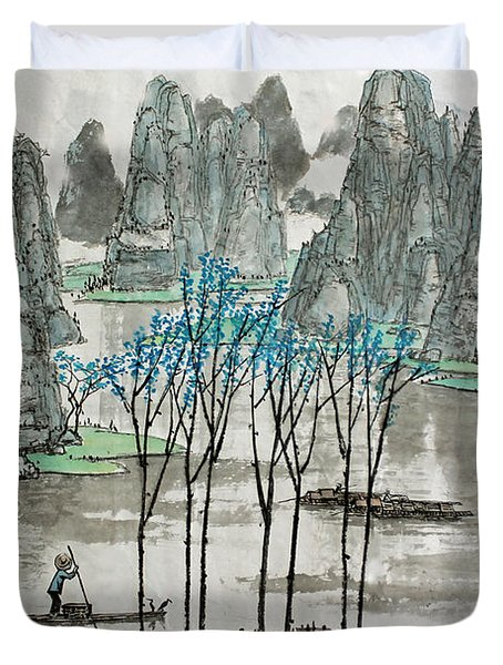 Li River In Spring Duvet Cover