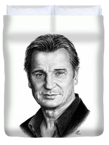 Liam Neeson Duvet Cover by Andrew Read