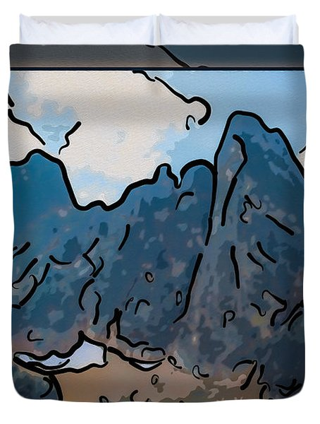 Liberty Bell Mountain Abstract Landscape Painting Duvet Cover