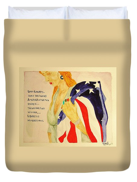 Duvet Cover featuring the painting The Divorce Of Liberty by Rand Swift